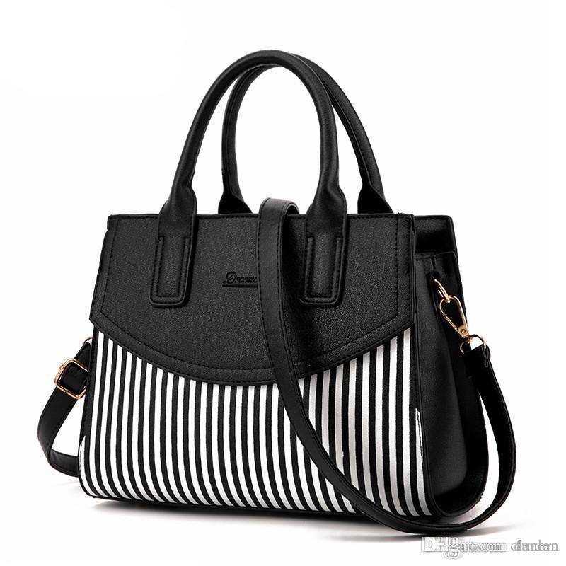 Wholesale- Ladies Black And White Striped Women Fashion Casual Tote Top-handle  Shoulder Messenger Bags Bao Bao Pearl BaoBao Bolsas Handbags Handbags with  ... 67857276ea9bb