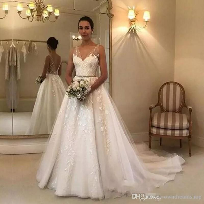 Cheap Wedding Dresses To Rent: Discount Elegant Boho Wedding Dresses Cheap Sheer V Neck