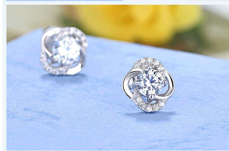 Authentic Genuine 925 sterling silver bling halo spring flower diamond wedding earring