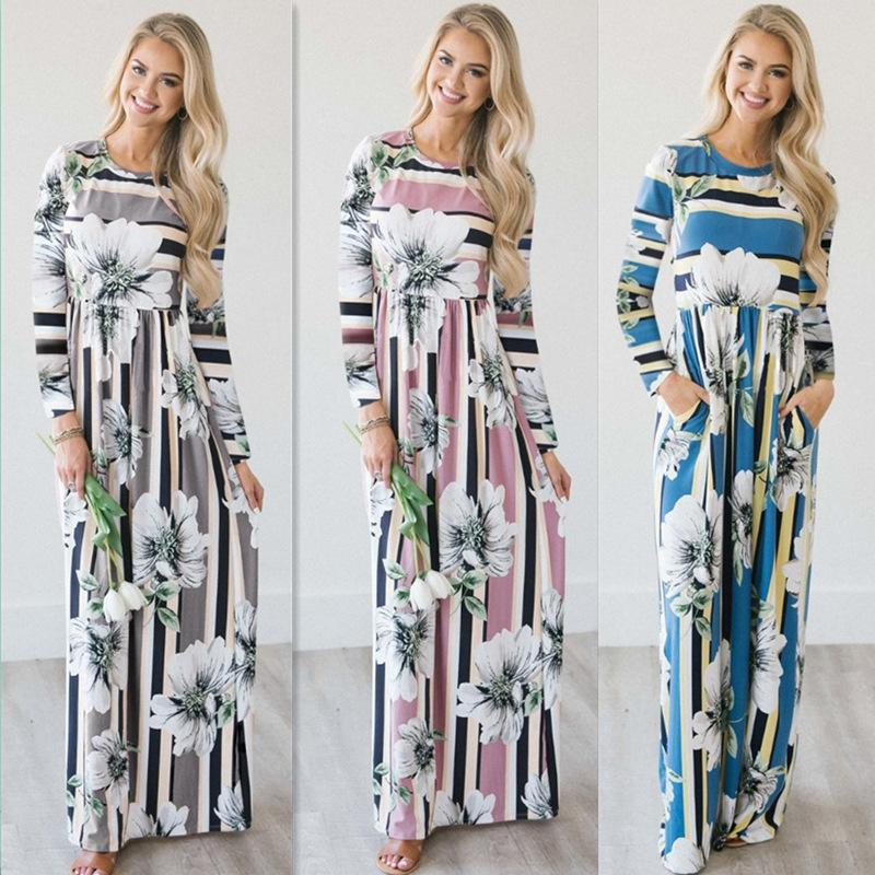 1259057700 Women Autumn Floral Maxi Dresses 2018 Casual O Neck Long Sleeve Peplum  Ankle Length OL Style Stripes Printed Maxi A Line Dress Black And Red  Dresses For ...