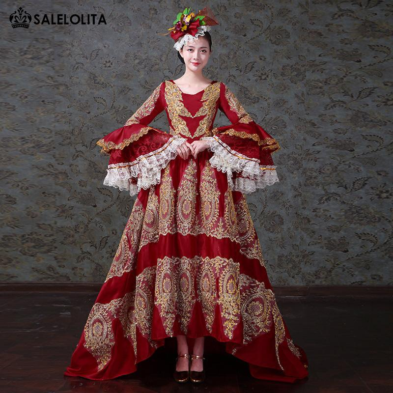 2018 New Red Embroidery Palace Dance Dress Medieval Gothic Victorian Marie Antoinette Masquerade Dresses Reenactment Clothing