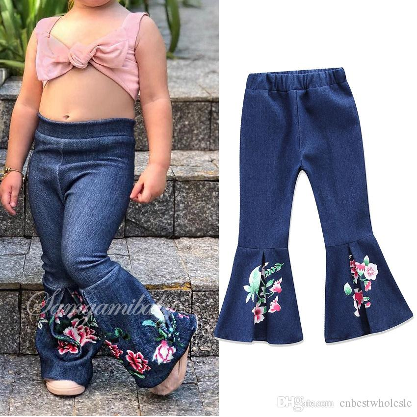 57dcbd8070d 2018 Spring Kids Girls Denim Flower Pants Baby Girls Embroidery Floral Jeans  Babies Fashion Flare Pants Kids Clothing Be Girl Jeans Boys Loose Fit Jeans  ...