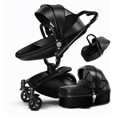 2018 3 In 1 Leather Baby Stroller Set High Landscape System Pram 360 Rotation Pushchair With Bassinet And Car Seat From Gaozang