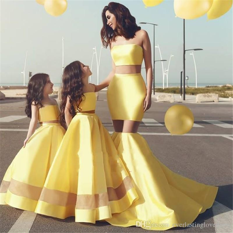 Strapless See Through Panel Cheap Bridesmaid Dress Bright Yellow Mother And Daughter Dresses Sexy maid Of Honor Gown