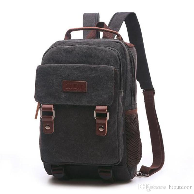 2019 Men Women Vintage Canvas Backpack Travel Rucksack Satchel Carry School  Bag Outdoor Hiking Camping Daypack Business Laptop Bag From Htoutdoor 66c3dac6f336e