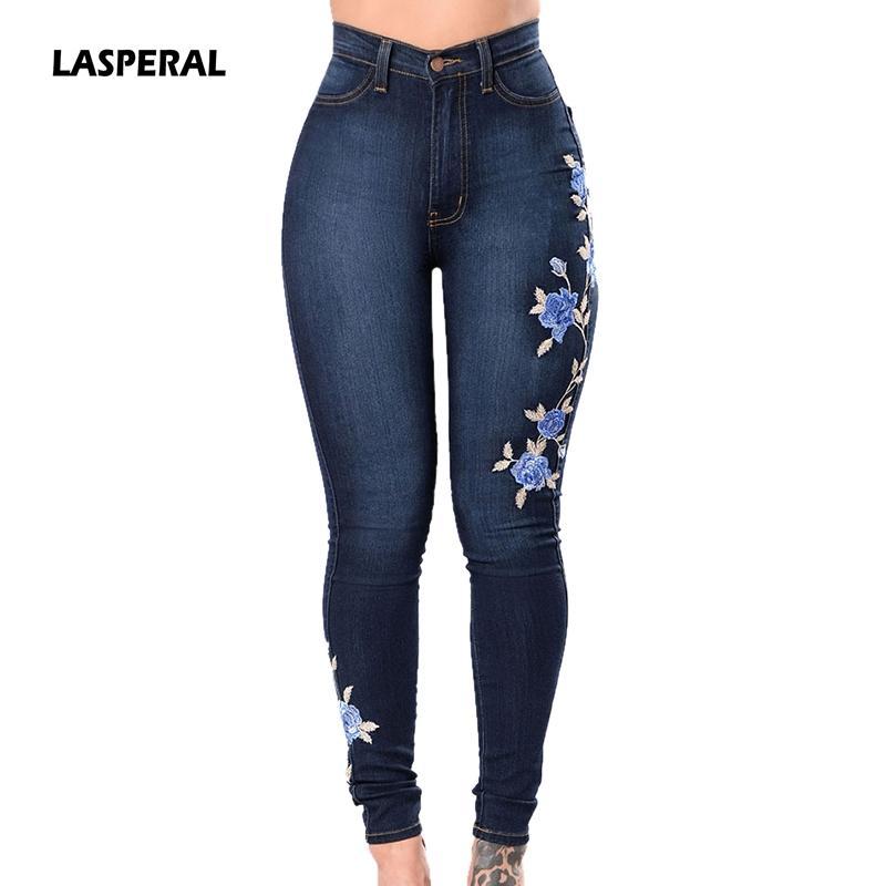 857cc6f6c Compre LASPERAL Jeans Bordados Mujer Más El Tamaño 3XL Pantalones Vaqueros  De Cintura Alta Pantalones Vaqueros Mujer Femme Push Up Pantalones Femeninos  De ...