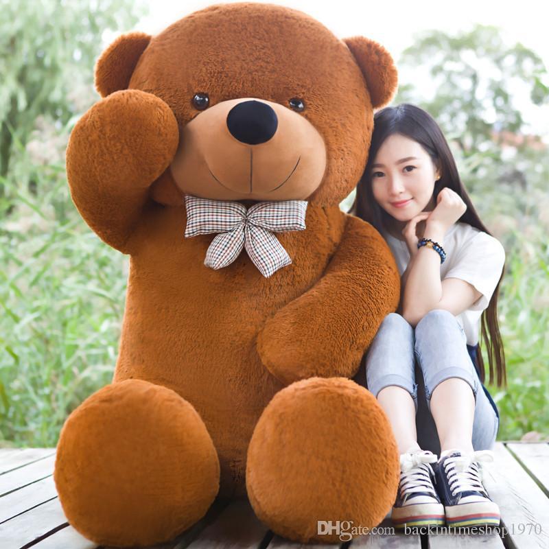 Nova chegada 220cm / 2.2M roxo de pelúcia urso de pelúcia gigante recheado animais garoto tamanho bonecas vida presente do dia ursinho Namorados