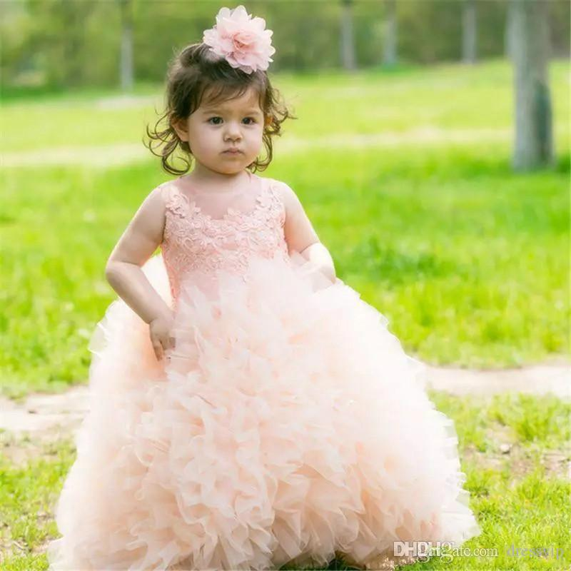 Little Flower Girl Dresses For Wedding Ruffle Applique Floor Length Small Girls Pageant Dress Birthday Party Wear First communion Dress