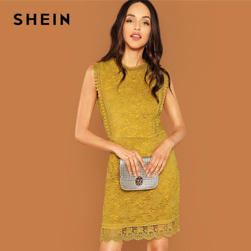 f567729572f SHEIN Ginger Contrast Lace Mock Neck Dress Casual Stand Collar Sleeveless  Dresses Women Autumn Elegant OL Work Short Dress Black Womens Dresses Party  And ...