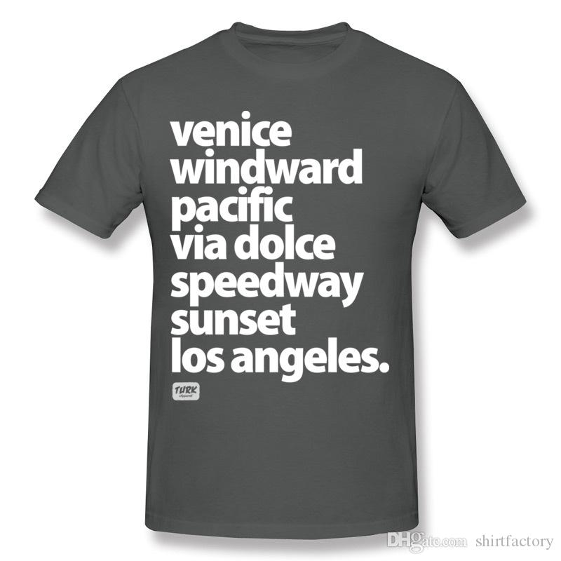 Fashion Homme Cotton Venice Beach Los Angeles California street names Tee Shirts Homme Round Neck Carbon Short Sleeve T Shirt S-6XL Summer T