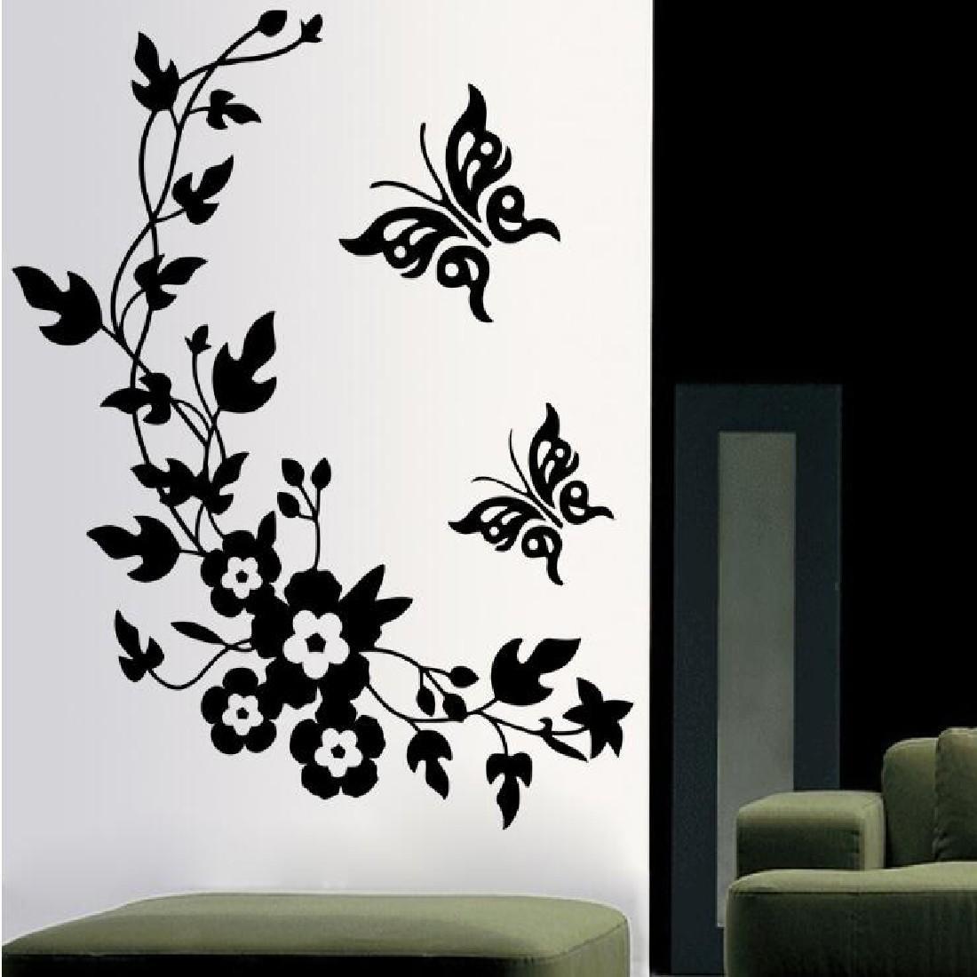 Sıcak Satış Çıkarılabilir DIY Duvar Kağıdı Siyah Kelebek Çiçek Duvar Sticker Çıkartması Ev Dekorasyon Yeni Moda