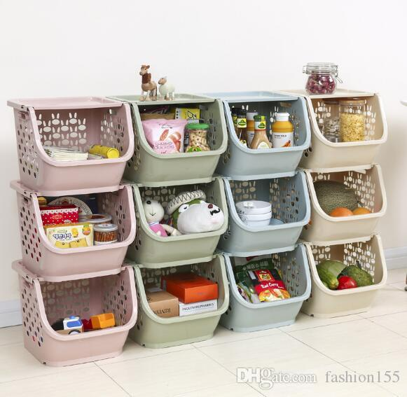 2018 Kitchen Storage Basket Childrenu0027S Toys Storage Box Basket Sorting Multilayer Stackable Rack Fruit Vegetable Basket Plastic From Fashion155 ... & 2018 Kitchen Storage Basket Childrenu0027S Toys Storage Box Basket ...