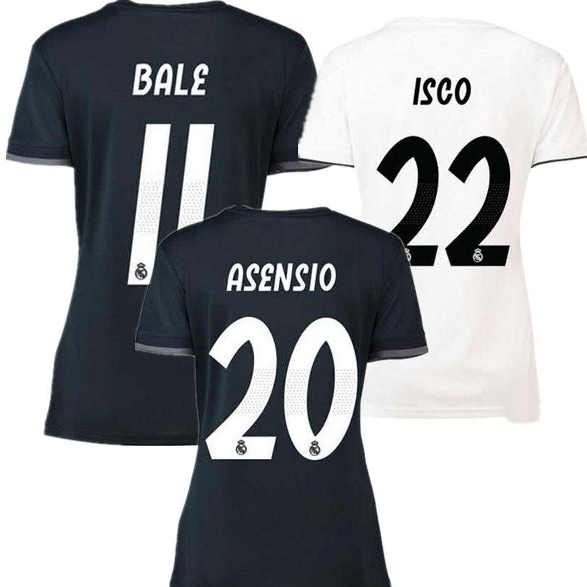 18 19 Mujeres Camiseta De Fútbol Real Madrid Camiseta De Fútbol RONALDO  BALE RAMOS KROOS BENZEMA LUCAS Camiseta 2018 2019 Modric Madrid Niña  Maillot Por ... 82edf1ce4b919