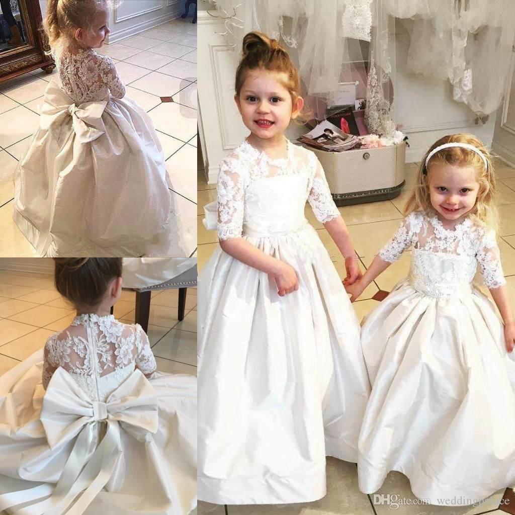 2018 New White Flower Girls Dresses For Weddings Birthday Half