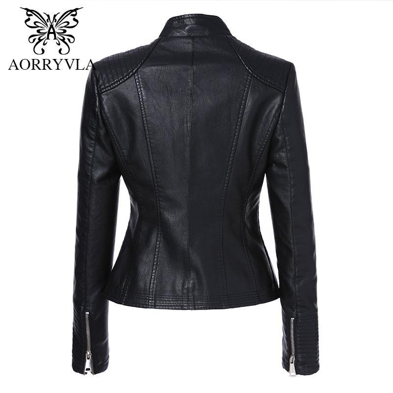 AORRYVLA Kadınlar Için Yeni Moda Faux Deri Ceket Sonbahar 2017 Kısa Siyah Renk Mandarin Yaka Fermuarlar Bayanlar Ceketler Coat