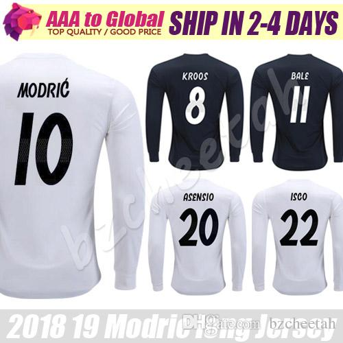 0a53681575c 2019 Camisas Modric Long Sleeve Jerseys 2019 Camiseta De Futbol Black  BENZEMA BALE KROOS Soccer Jerseys Long Sleeve Football Shirts From  Bzcheetah