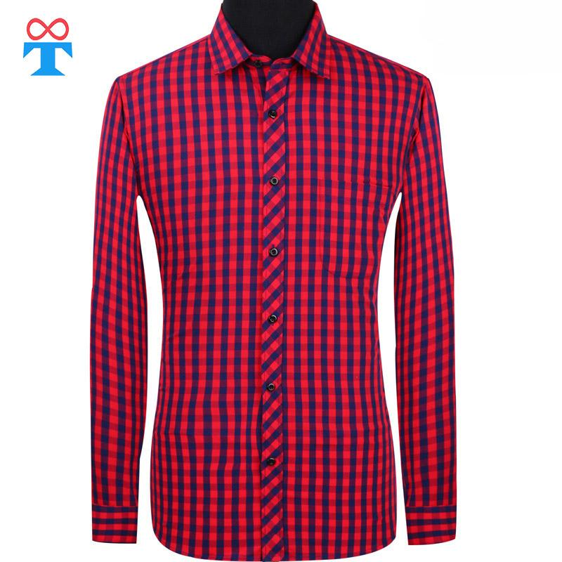 100% Cotton Men's Shirt Smart Casual, France Red Plaid Shirt Men's, Long Sleeve Slim Social School Germany for Boys