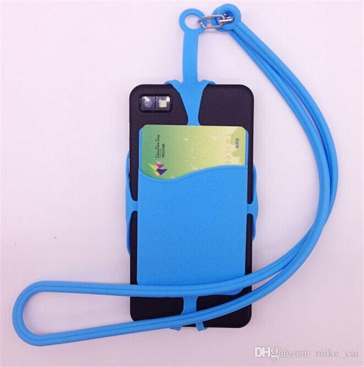 DHL Universal mobile hybrid case soft Silicone case with long Lanyard strap pounch card holder for samsung black berry smart phone