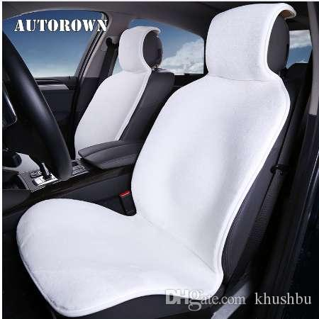 AUTOROWN Artificial Plush Car Seat Covers Universal For Front Seats Interior Accessories Faux Fur Auto Cushion Protect Styling