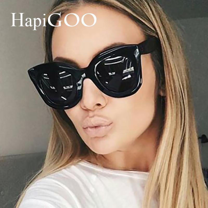 757f1a2688 2019 HAPIGOO New Fashion Cat Eye Sunglasses Women Luxury Brand Designer  Vintage Rivet Big Frame Gradient Sun Glasses For Female From G6241163