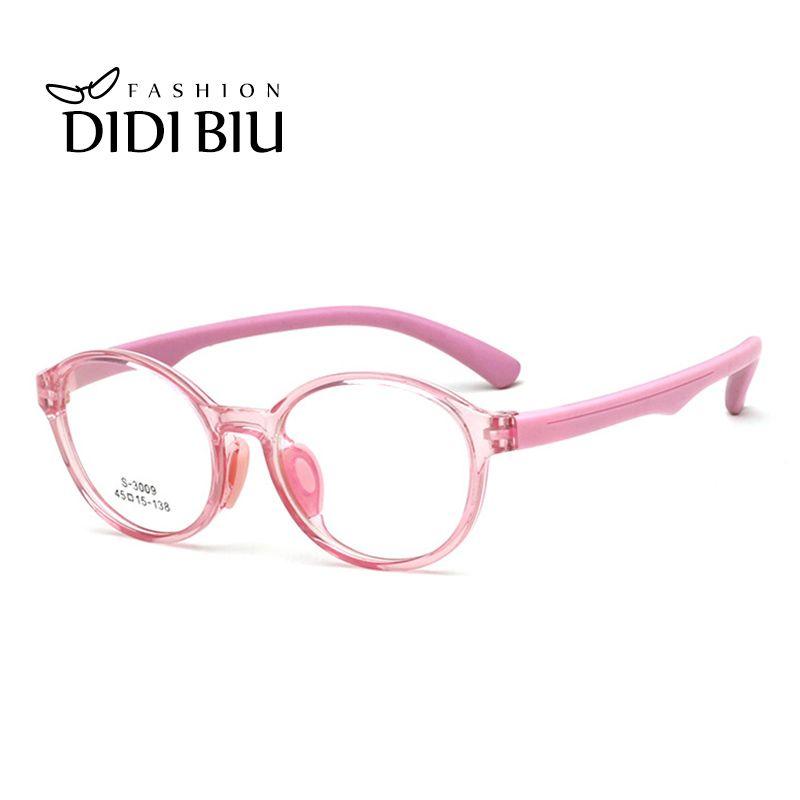 3ab4bf9717 2019 Pink Children TR90 Eyeglasses Frame Kids Optical Prescription ...