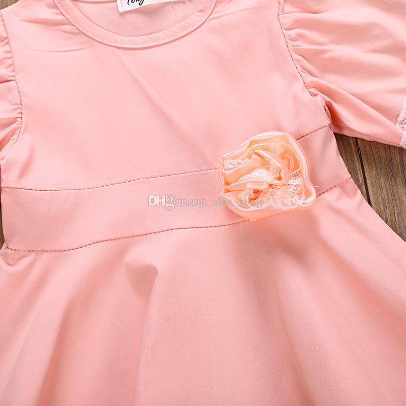 New Baby Girl Summer Dress Children Pink Lace Princess Dress Kids Fashion Lace Elasticity Flower Frocks