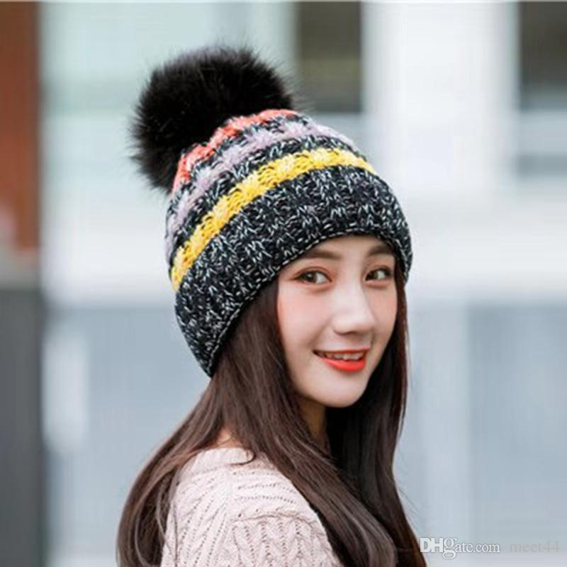 9c0ff499516 Korean Version Of The Big Hair Ball Color Strip Knit Outdoor Plus Velvet Thick  Wool Hat Warm Autumn And Winter Adult Ladies Hat Women Hats Cool Beanies  From ...