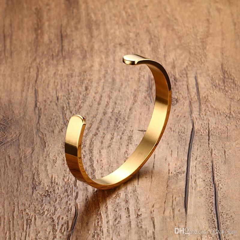 Women and Men 8mm Width Surface Bracelet Bangle Stainless Steel Bracelet Men Silver Gold Black Rose Gold