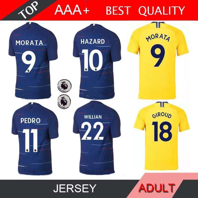 419901a55b3 HAZARD GIROUD 18 19 Soccer Jersey 2018 2019 MORATA Willian Pedro ...