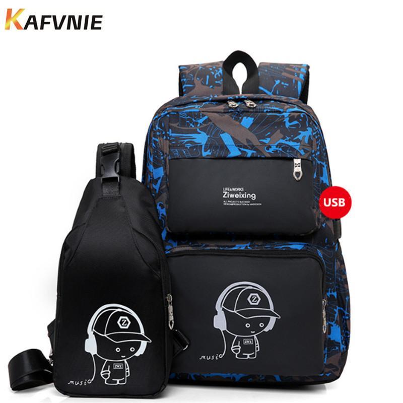 27c020515c New 2 IN I1 High School USB Male Backpack Set For Boys Chest Bag Student Book  Bag Men Women School Travel Backpack 2018 Y18100804 Boy Backpacks For School  ...