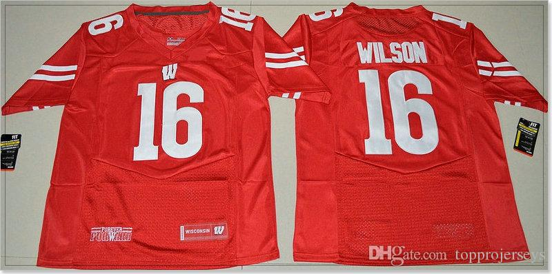 New Wisconsin Badgers #16 Russell Wilson 99 J.J. Watt Mens Vintage College American Football Sports Pro Team Jerseys Stitched Embroidery