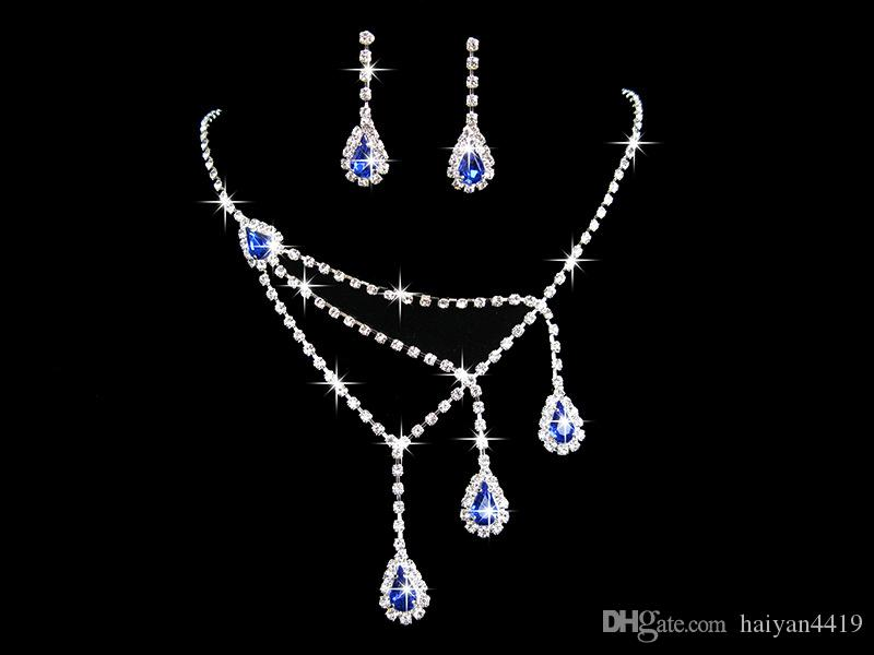2020 Crystal Blue Purple Flowers Water Drop Necklace Earrings Jewelry Sets Girl and Lady Prom Cocktail Graduation Bridal Wedding Accessories