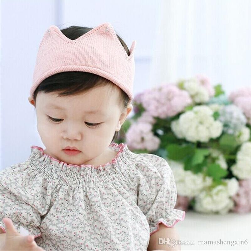 New Multicolor Baby Knit Crown Tiara Kids Infant Crochet Headband Cap Hat Birthday Party Photography Props Beanie Bonnet Headdress