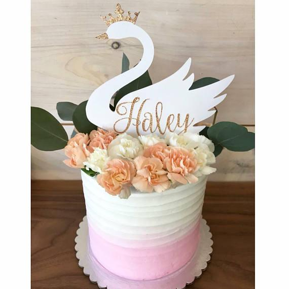 2019 Personalize Name Glitter Swan Birthday Cake Topper Wedding Baby Bridal Shower Party Decorations Cupcake Toppers From Chengdaphone06 2025