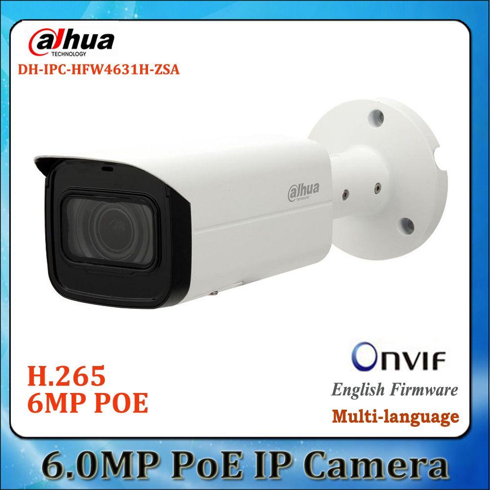 Original dahua 6Mp camera IPC-HFW4631H-ZSA POE IR cctv 2 7-13 5mm vf lens  built in mic H265 Sd card slot