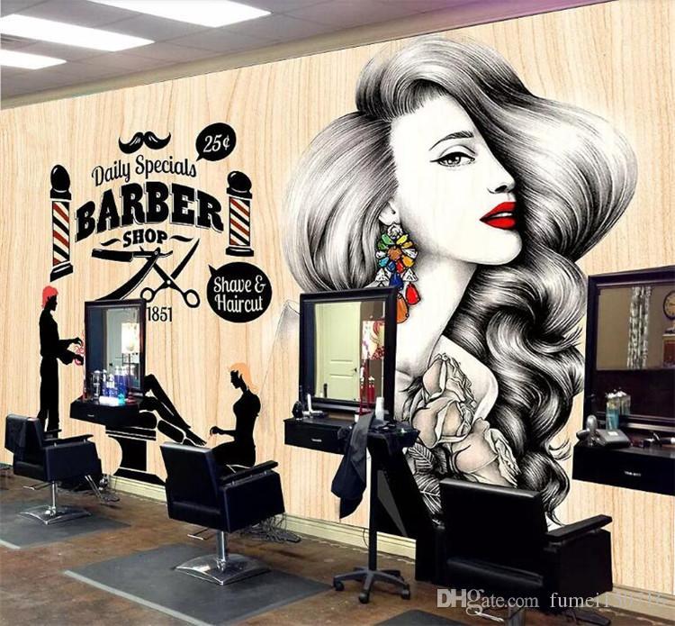 Custom Wallpaper Hairdressing Salon Hair Wall Barber Shop Vintage