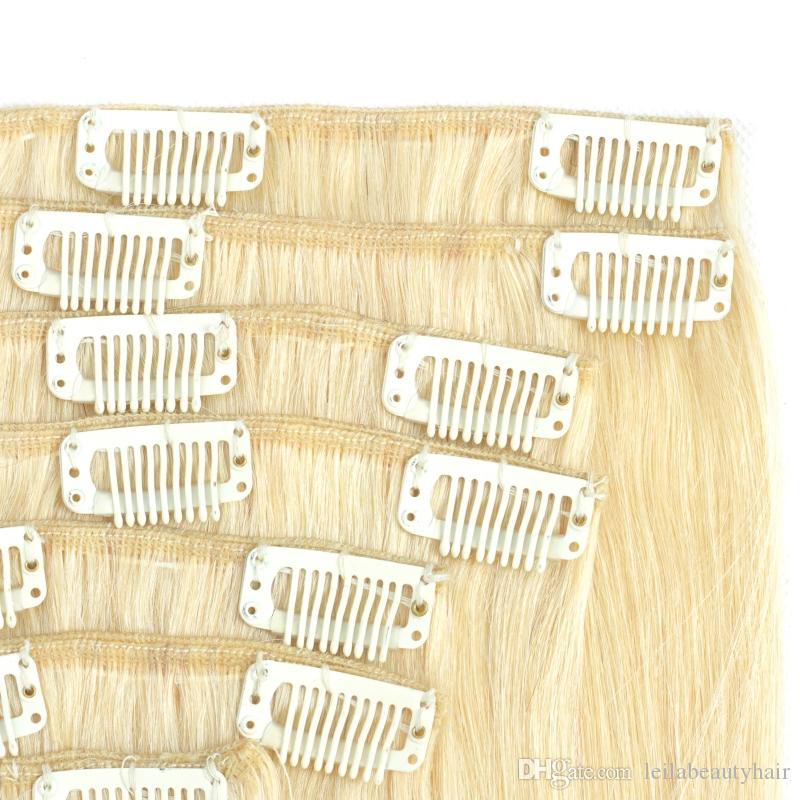 Brazilian Peruvian Indian Malaysian 100g Clip In Hair Extensions Hair Textures 10-28 Inch Straight Hair 613#