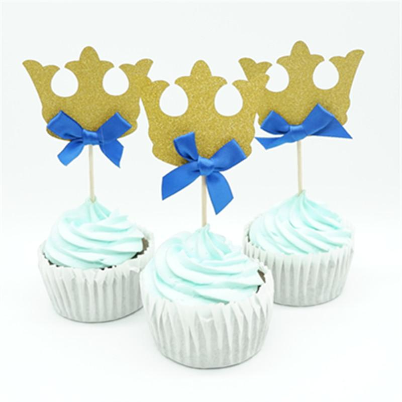 12pcs/lot Prince Crown Cupcake Topper Pick Theme Cartoon Party Supplies Baby Kids Boy Girl Birthday Party Decorations