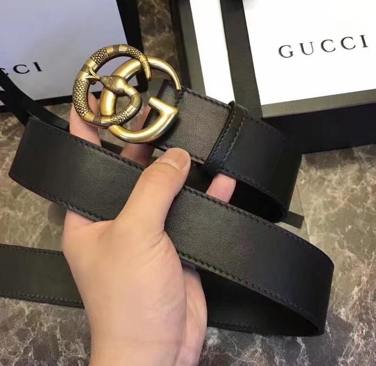 ded0863a2 Leather belt with Double 2G buckle with snake Style 458949 Women Men Real  leather REVERSIBLE BUCKLE BELT Official With Box