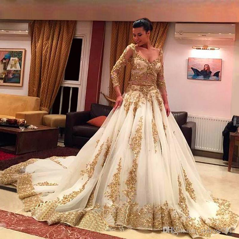 Traditional Wedding Gowns With Long Sleeves: Discount African Traditional 2018 Wedding Dresses Gold