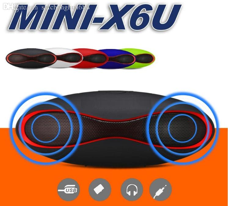 Mini X6u Rugby Bluetooth Speaker Hands-free V3.0 Audio Portable Wireless Stereo Speakers MP3 Player Subwoofer U Disk TF Card With RetailBox