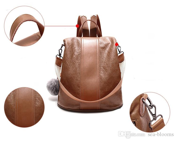 Vintage Leather Backpack Women Fashion Leisure Travel Bag School Travel Bag For Teenage Girls Free DHL G143L