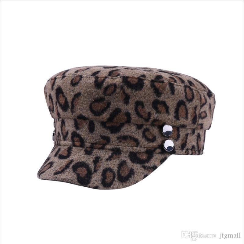 5b01bfacaa923 Beret Female Flat Cap Fashion Leopard Wool Tocas Autumn Winter Hats For  Women Painter Caps Wool Keep Warm Beret Visor Online with  11.43 Piece on  Jtgmall s ...