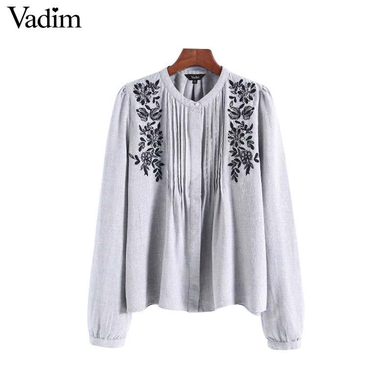 aef20442b Vadim Women Floral Embroidery Blouse Long Sleeve O Neck Pleated ...