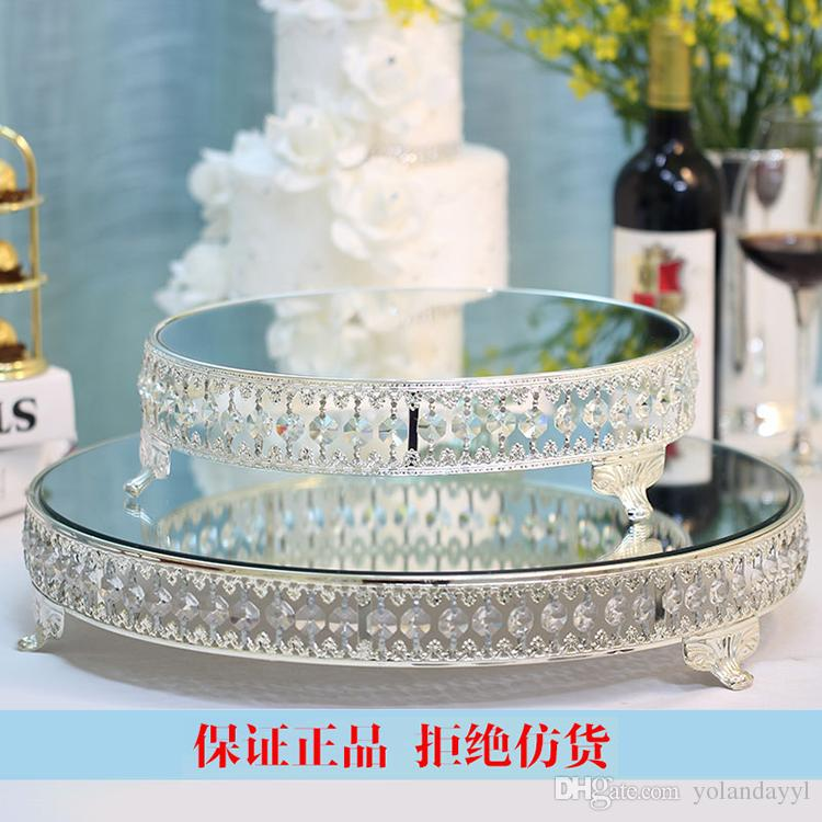 2018 Crystal Beads Cake Stand Silver Plated Mirror Surface Dessert Stand Wedding Patry Table Decoration 18 Inch From Yolandayyl $196.99 | Dhgate.Com & 2018 Crystal Beads Cake Stand Silver Plated Mirror Surface Dessert ...