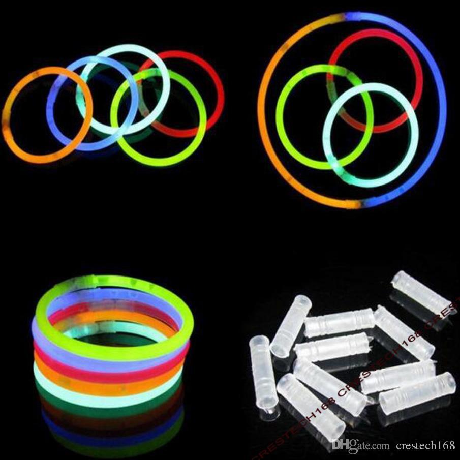 20 CM Glow Stick Çok Renkli Bilezik 100 Light up Oyuncaklar Glow Stick Bilezikler Karışık Renkler Parti Malzemeleri Yanadır
