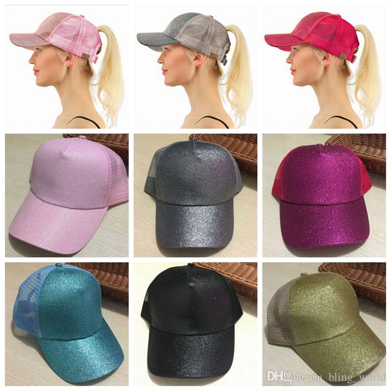 985aa6b00f4 CC Glitter Ponytail Baseball Cap Summer Messy Bun Mesh Hats ...