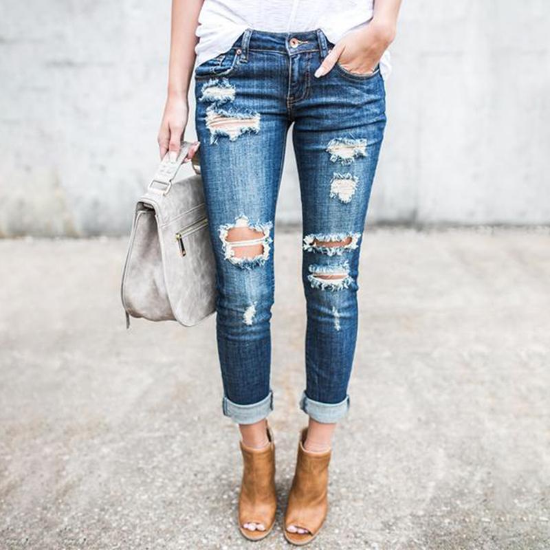 Compre Bigsweety Mujeres Moda Agujeros Rotos Pantalones Delgados Para Mujer  Jeans Spandex Hasta El Tobillo Pantalones Con Cremallera Mosca Lápiz  Pantalones ... a6f3b5852351