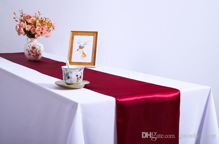 / De Luxe Satin Chemin De Table 30x275cm De Mariage Coureurs En Tissu De Soie Organza Party Table Décoration De Noël Accessoires Textiles À La Maison