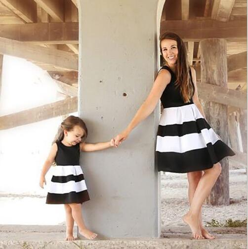 f9f12d3771825 Mommy and me family matching mother daughter striped patchwork dresses mom  and daughter dress kids parent child outfits clothes